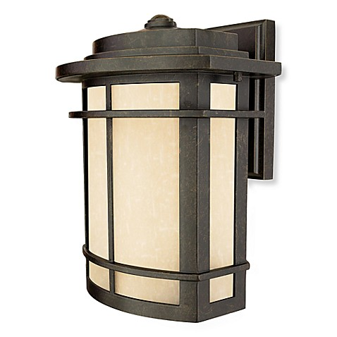 Galen Outdoor 1-Light Fixture with Umber-Linen Glass and Imperial Bronze Finish