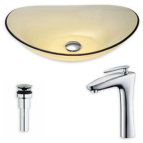 ANZZIu0026trade; Mesto 14 Inch Glass Vessel Sink With Chrome Fann Faucet ...