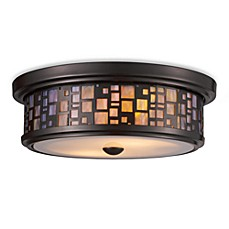 image of ELK Lighting Tiffany Flushes 2-Light Flush Mount Ceiling Lamp in Oiled Bronze/Tea Glass