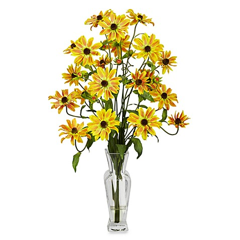 Buy Nearly Natural Cosmos With Vase Silk Flower Arrangement In Yellow From Bed Bath Beyond
