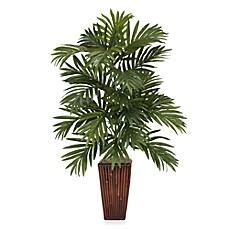 Faux floral arrangements silk flowers faux plants bed bath beyond nearly natural areca palm silk plant with bamboo vase mightylinksfo