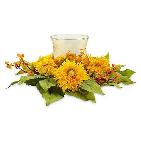 Nearly Natural Golden Sunflower Candelabrum Silk Flower Arrangement