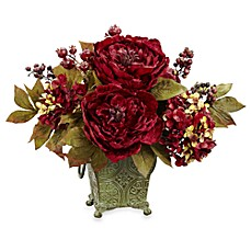 image of Nearly Natural Small Silk Peony & Hydrangea Flower Arrangement