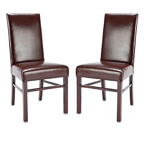 Safavieh Classic Side Chairs in Brown Leather (Set of 2)