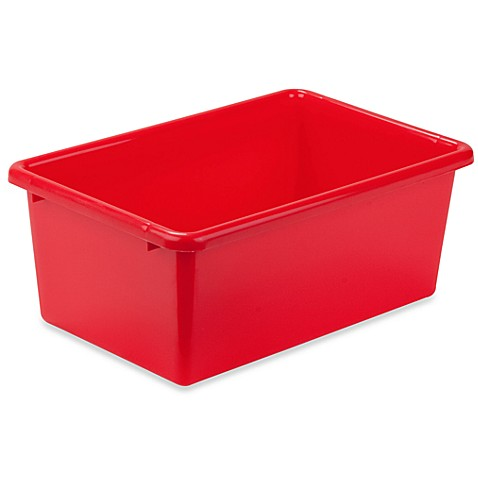 Buy honey can do small plastic storage bin in red from for Red bathroom bin