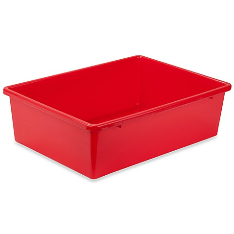 Buy honey can do large plastic storage bin in red from for Red bathroom bin