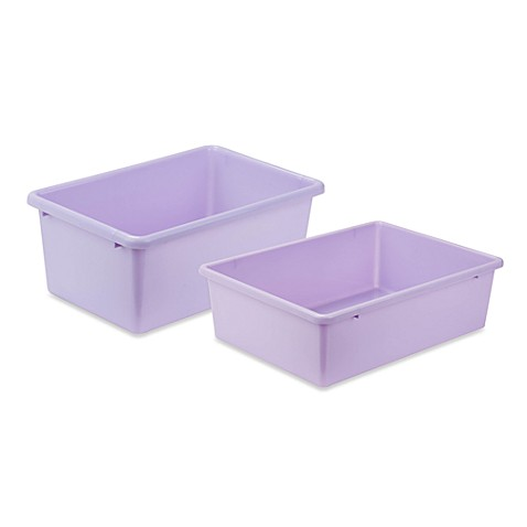 Honey can do plastic storage bin in light purple bed for Purple bathroom bin