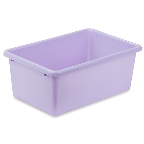 Buy honey can do small plastic storage bin in light for Purple bathroom bin