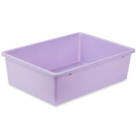 Buy honey can do large plastic storage bin in light for Purple bathroom bin