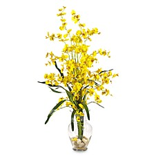 image of nearly natural dancing lady liquid illusion silk arrangement in yellow