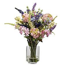 image of nearly natural lavender hydrangea silk flower arrangement - Silk Arrangements For Home Decor