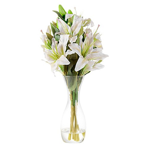 Pure Garden Artificial Tall Lily Floral Arrangement In White With