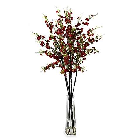 Nearly Natural Cherry Blossoms w/ Vase Silk Flower Arrangement in Red