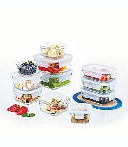 Set de contenedores para alimentos Glasslock en aqua, 22 pzas.