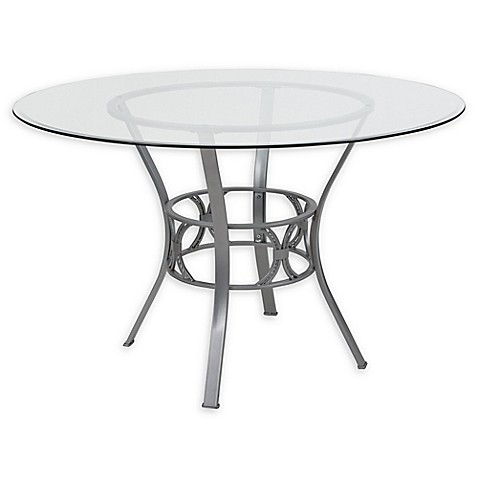 Flash Furniture Carlisle 48 Inch Metal And Glass Round Dining Table