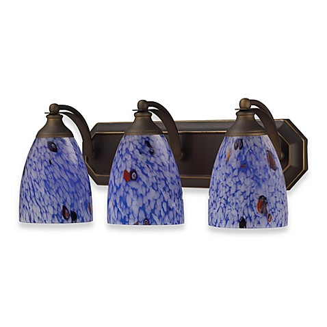 ELK Lighting 3-Light Vanity in Aged Bronze/Starburst Blue Glass