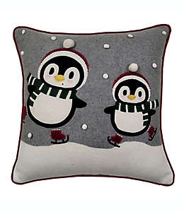 Cojín decorativo cuadrado Winter Wonderland de pingüinos color gris/rojo