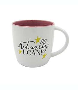 """Taza de cerámica con frase GiftCraft """"Actually, I Can!"""" color blanco"""