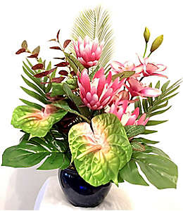 Arreglo floral rosa de tela W Home® con maceta de 60.96 cm
