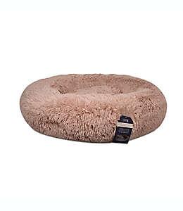 Cama redonda para mascotas Calming Vegan de pelo largo en rosa blush