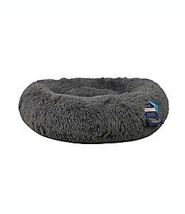 Cama redonda para mascotas Calming Vegan de pelo largo en gris carbón