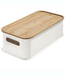 Contenedor de plástico iDesign® apilable grande con tapa de bambú