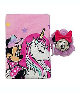 Set de toalla de medio baño y esponja de Minnie, 2 piezas