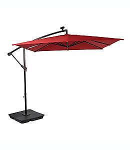 Sombrilla para patio cuadrada Destination Summer con luz LED color rojo salsa
