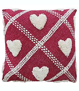 Cojín decorativo de algodón con corazones en relieve