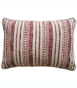 Cojín decorativo de algodón a rayas color blanco y rojo