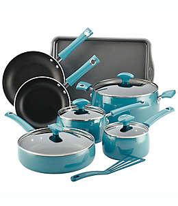 Batería de cocina Rachael Ray™ Cityscapes de porcelana en turquesa, 12 piezas