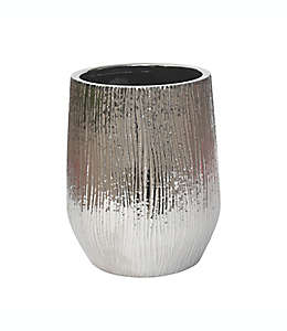 Bote de basura de cerámica Lifestyle Home Valletta color plata