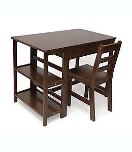 Set de escritorio y silla Lipper para niños en café nogal