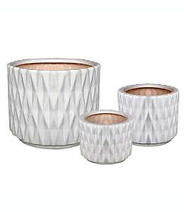 Maceta circular chica W Home™ de cerámica color blanco