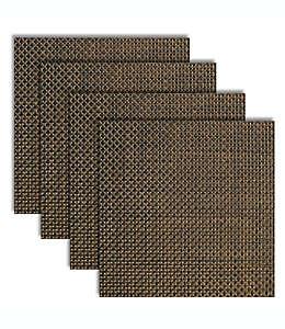 Mantel individual cuadrado de vinilo Bistro color ceniza