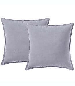 Cojines decorativos de poliéster Morgan Home ChenilleSquare color gris claro, Set de 2