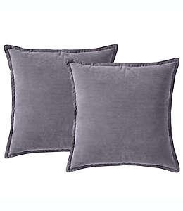 Cojines decorativos de poliéster Morgan Home ChenilleSquare color gris oscuro, Set de 2