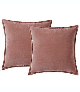 Cojines decorativos de poliéster Morgan Home ChenilleSquare color rosa blush, Set de 2