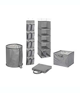 Organizadores de poliéster Simply Essential™ para clóset color gris, Set de 5 pzas