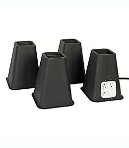 Elevadores de polipropileno para camas extra altos Simply Essential™ con puerto USB, Set de 4
