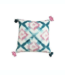 Cojín de algodón Wild Sage™ Kiera con diseño cruzado de diamantes color turquesa/rosa