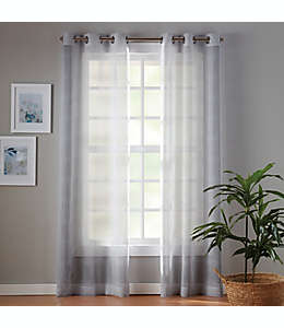 Cortinas traslúcidas de poliéster Simply Essential™ Plaid con ojales de 1.6 m color gris