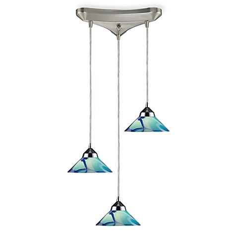 Vertical Pendant Light Fixture in Polished Chrome With Caribbean Glass
