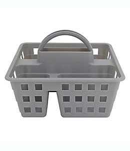 Contenedor de plástico para regadera Simply Essential™ estilo canasta color gris