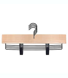 Ganchos de madera Squared Away™ con pinzas color rubio/negro