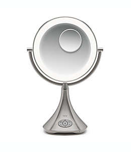 Espejo de tocador recargable con bocina iHome® Lux Pro 10x/1x acabado en plata/níquel