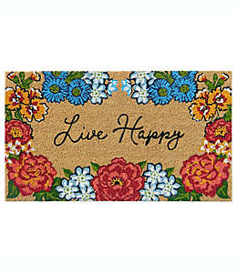 "Tapete para entrada de fibra de coco Simply Essential™ ""Live Happy"" de 40.64 x 71.12 cm color natural"