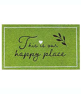 """Tapete para entrada de fibra de coco Bee & Willow™ """"Happy place"""" de 40.64 x 71.12 cm color verde"""
