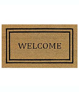 """Tapete para entrada de fibra de coco Simply Essential™ """"Welcome"""" de 40.64 x 71.12 cm color beige"""