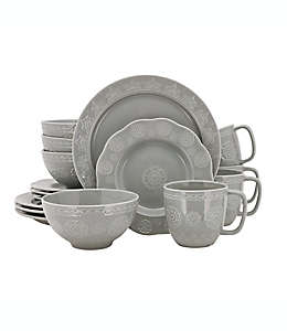 Vajilla de cerámica con diseño de medallones Wild Sage™ Sana color gris, 16 pzas.